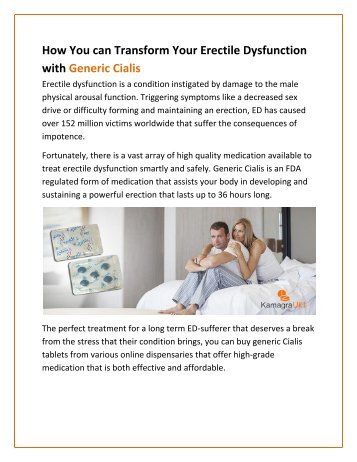 How You can Transform Your Erectile Dysfunction with Generic Cialis