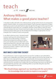 Anthony Williams - What makes a good piano teacher
