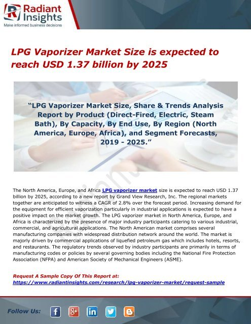 LPG Vaporizer Market Size is expected to reach USD 1 37