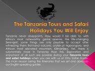 The Tanzania Tours and Safari Holidays You Will Enjoy