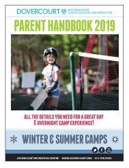 Dovercourt Parent Handbook 2019 - Winter and Summer Camps