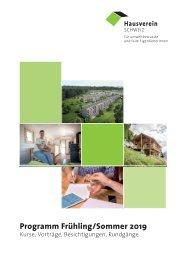 Programm Frühling-Sommer 2019 - Kurse, Vorträge, Besichtigungen, Reisen