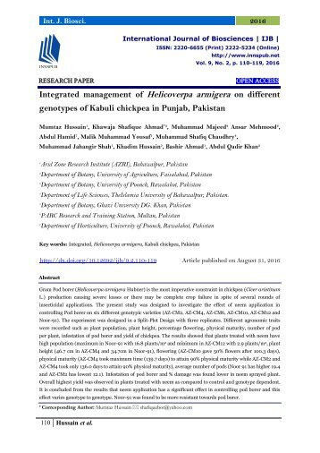 Integrated management of Helicoverpa armigera on different genotypes of Kabuli chickpea in Punjab, Pakistan