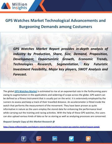 GPS Watches Market Technological Advancements and Burgeoning Demands among Costumers
