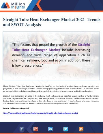Straight Tube Heat Exchanger Market 2021- Trends and SWOT Analysis