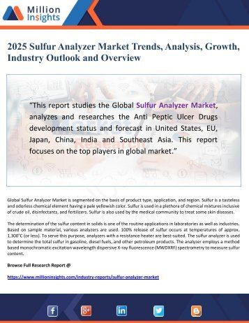 2025 Sulfur Analyzer Market Trends, Analysis, Growth, Industry Outlook and Overview