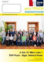 pro!PUCH - Wahlzeitung - ÖVP Puch - Bgm. Helmut Klose - Wahl 2019
