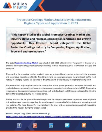 Protective Coatings Market Analysis by Manufacturers, Regions, Types and Application to 2025