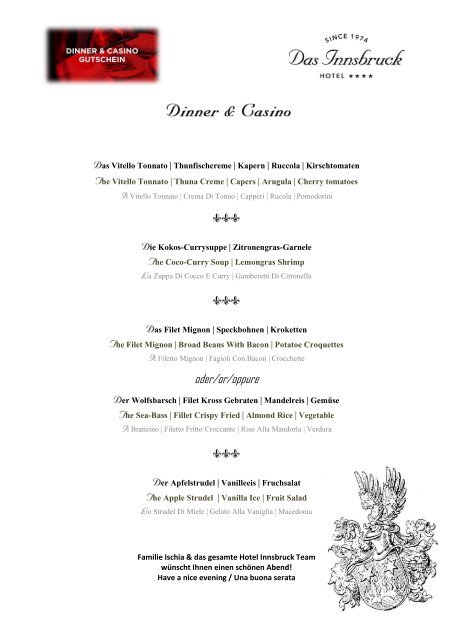 Dinner & Casino Menü D,E,I Stand Dezember 2018