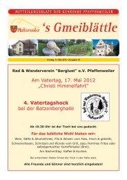 """Rad & Wanderverein """"Berglust"""" eV Pfaffenweiler - Suedlicht GmbH"""