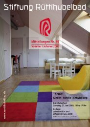 Mitteilungen Nr. 86 Sommer/Johanni 2009 - Stiftung Rüttihubelbad