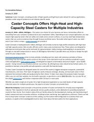Caster Concepts Offers High-Heat and High-Capacity Steel Casters for Multiple Industries