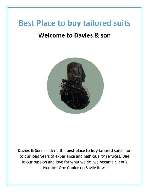 Best Place to Buy Tailored Suits   Davies & son