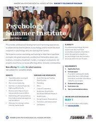 APA MFP Psychology Summer Institute