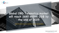 Global OBD Telematics market will reach 2690 million US$ by the end of 2025