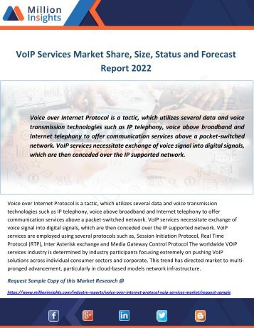 VoIP Services Market Share, Size, Status and Forecast Report 2022