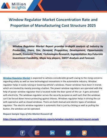 Window Regulator Market Concentration Rate and Proportion of Manufacturing Cost Structure 2025