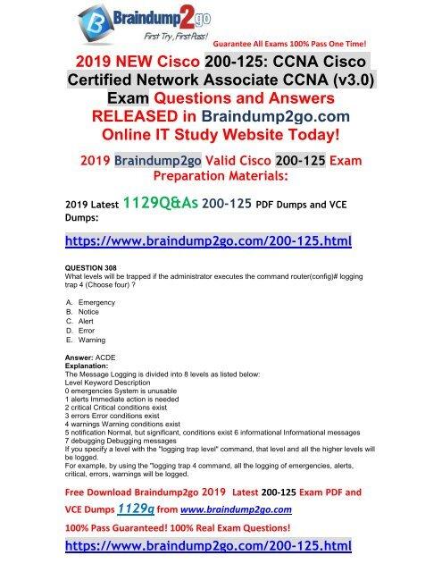 2019-February-New]CCNA 200-125 VCE Dumps Free Download(Q308