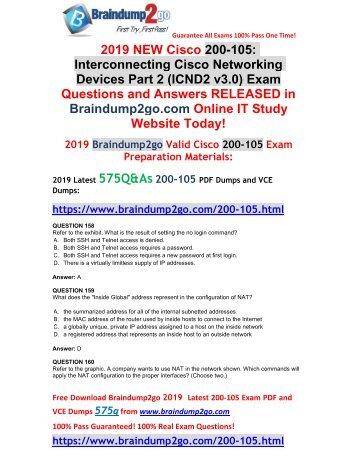 [2019-February-New]CCNA ICND2 200-105 PDF and 200-105 VCE Dumps Free Download(Q158-Q168)
