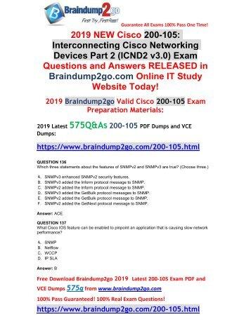 [2019-February-New]CCNA ICND2 200-105 PDF and VCE Dumps Free Download(Q136-Q46)