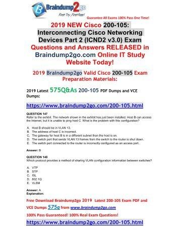 [2019-February-New]CCNA ICND2 200-105 VCE and 200-105 PDF Dumps Free Download(Q147-Q157)