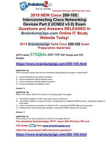 [2019-February-New]CCNA ICND2 200-105 PDF Dumps Free Download(Q125-Q135)