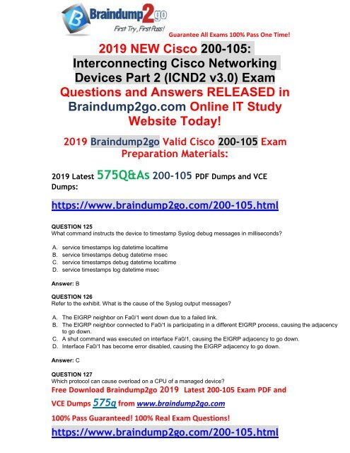 2019-February-New]CCNA ICND2 200-105 PDF Dumps Free Download
