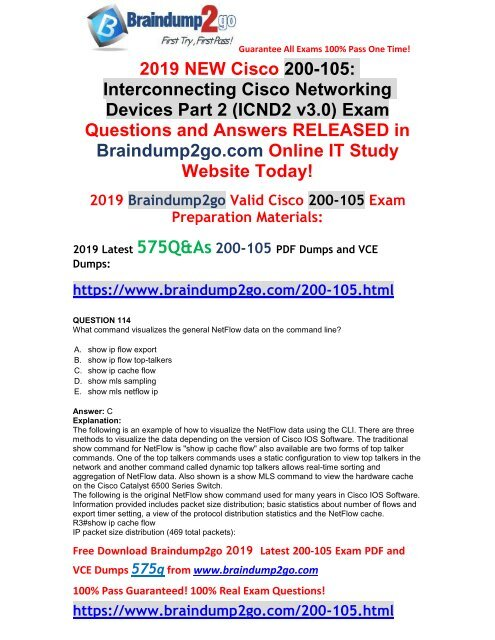 2019-February-New]CCNA ICND2 200-105 VCE Dumps Free Download(Q114-Q124)