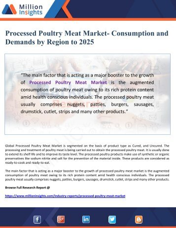 Processed Poultry Meat Market- Consumption and Demands by Region to 2025