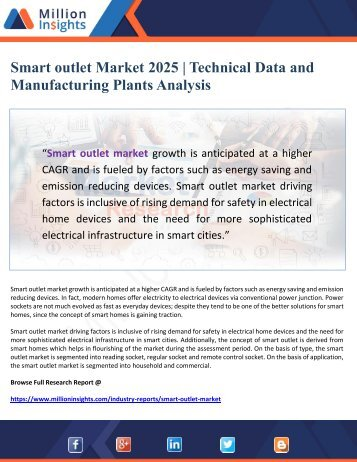 Smart outlet Market 2025 - Technical Data and Manufacturing Plants Analysis