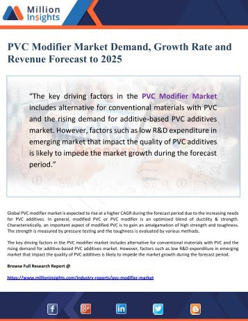 PVC Modifier Market Demand, Growth Rate and Revenue Forecast to 2025