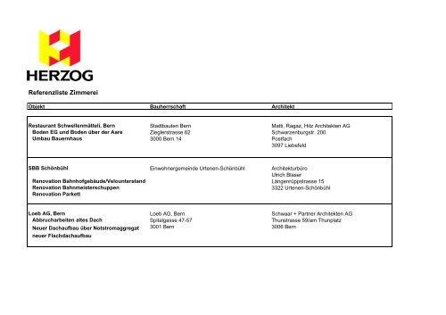 Referenzliste Zimmerei - HERZOG Bau und Holzbau AG