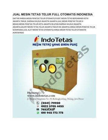 JUAL MESIN TETAS TELUR FULL OTOMATIS JAKARTA -0822-5705-4455