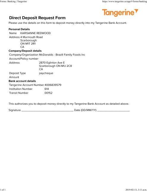 mcdonalds direct deposit form  tangerine deposit form