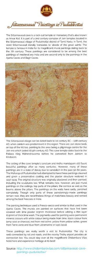 Sittanavasal cave Paintings | Places to Visit in Pudukkottai | Chidambara Vilas
