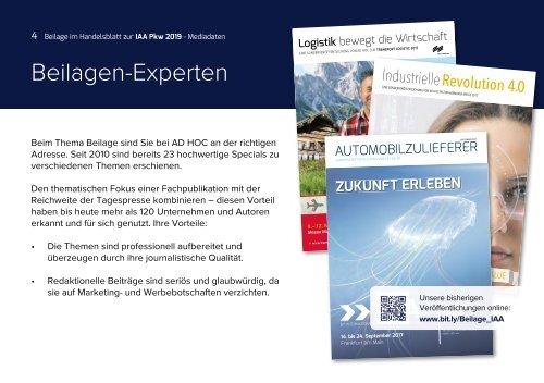 IAA PKW Frankfurt 2019 Mediadaten Sonderbeilage im Handelsblatt