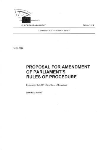 Amendments Rules of Procedure