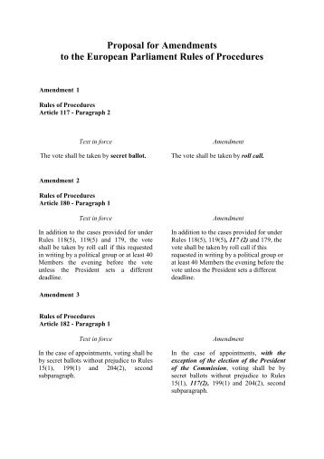 Proposal for Amendments to the European Parliament Rules of Procedures