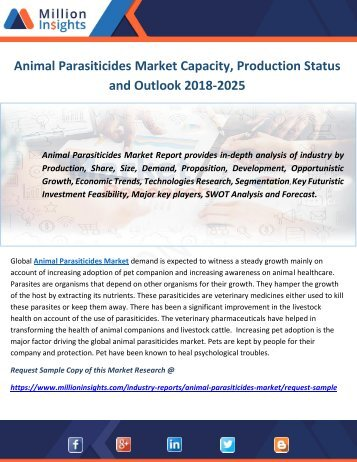 Animal Parasiticides Market Capacity, Production Status and Outlook 2018-2025