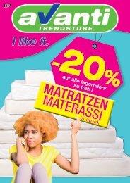 -20 % auf alle lagernden Matratzen