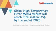 Global High Temperature Filter Media market will reach 3150 million US$ by the end of 2025