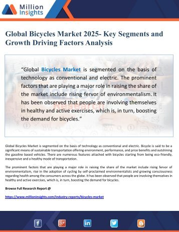 Global Bicycles Market 2025- Key Segments and Growth Driving Factors Analysis