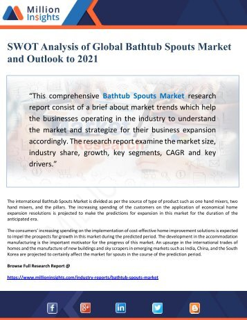 SWOT Analysis of Global Bathtub Spouts Market and Outlook to 2021