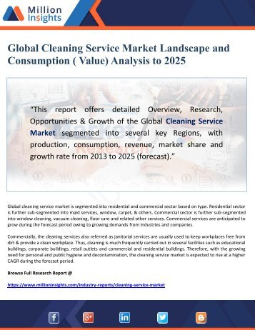 Global Cleaning Service Market Landscape and Consumption ( Value) Analysis to 2025