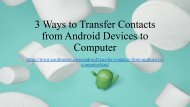 How to Backup Contacts from Android Devices to Computer
