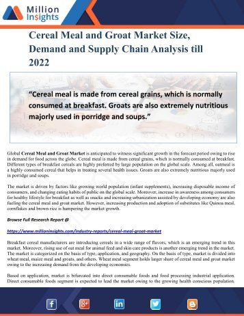 Cereal Meal and Groat Market Size, Demand and Supply Chain Analysis till 2022