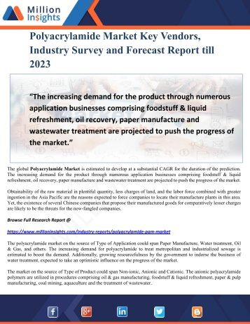 Polyacrylamide Market Key Vendors, Industry Survey and Forecast Report till 2023