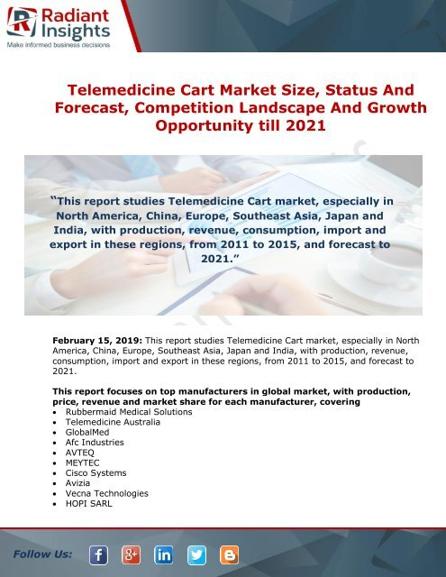 Telemedicine Cart Market Share, Size, Industry Growth And