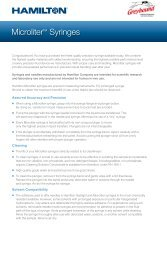 Hamilton Syringes Microliter Syringe Instruction Sheet
