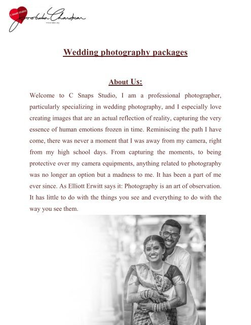 wedding photography packages balan